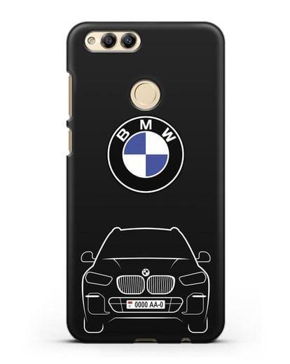 Чехол BMW X5 с автомобильным номером силикон черный для Honor 7X