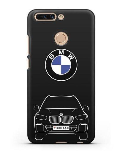 Чехол BMW X5 с автомобильным номером силикон черный для Honor 8 Pro