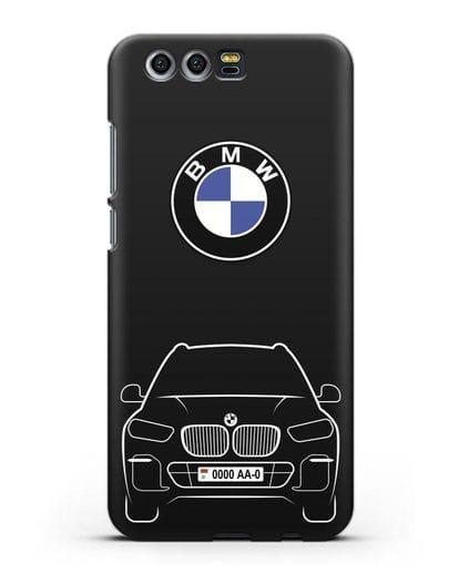 Чехол BMW X5 с автомобильным номером силикон черный для Honor 9
