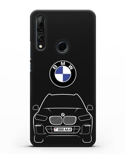 Чехол BMW X5 с автомобильным номером силикон черный для Honor 9X