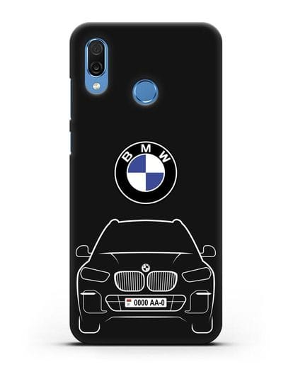Чехол BMW X5 с автомобильным номером силикон черный для Honor Play