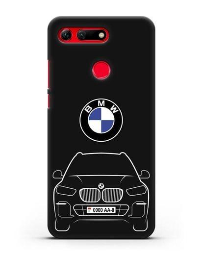 Чехол BMW X5 с автомобильным номером силикон черный для Honor View 20