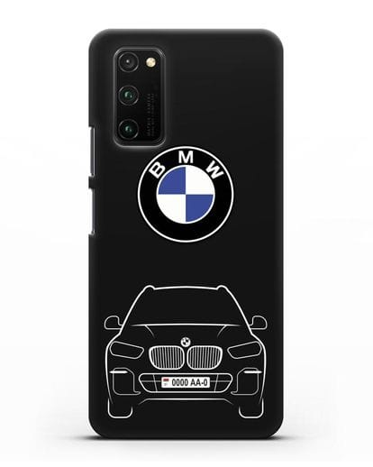 Чехол BMW X5 с автомобильным номером силикон черный для Honor View 30 Pro