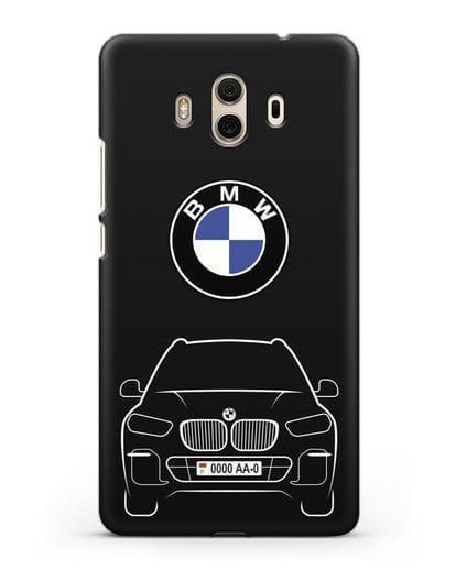 Чехол BMW X5 с автомобильным номером силикон черный для Huawei Mate 10