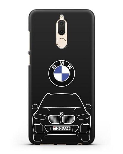 Чехол BMW X5 с автомобильным номером силикон черный для Huawei Mate 10 Lite