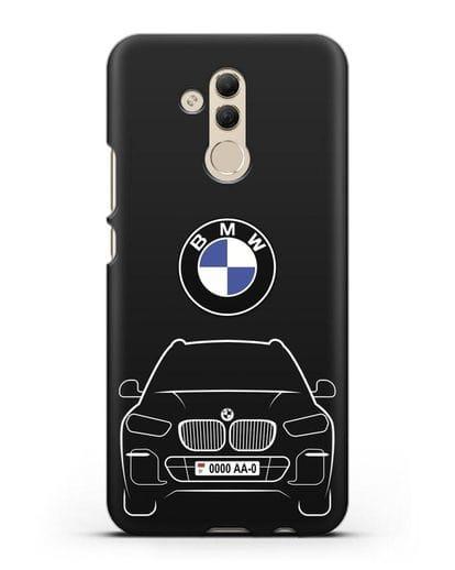 Чехол BMW X5 с автомобильным номером силикон черный для Huawei Mate 20 Lite