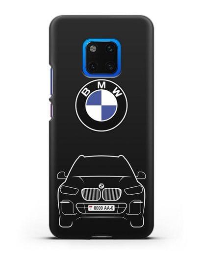 Чехол BMW X5 с автомобильным номером силикон черный для Huawei Mate 20 Pro