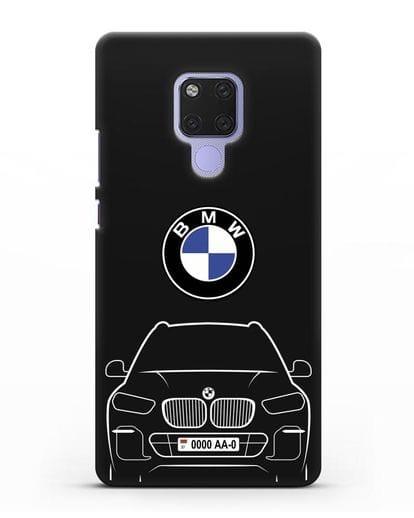 Чехол BMW X5 с автомобильным номером силикон черный для Huawei Mate 20X