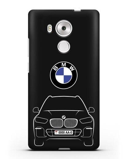 Чехол BMW X5 с автомобильным номером силикон черный для Huawei Mate 8