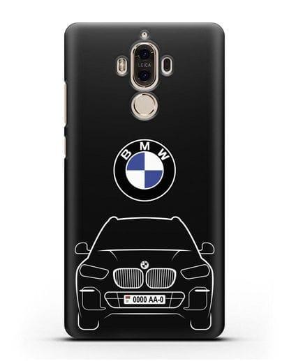 Чехол BMW X5 с автомобильным номером силикон черный для Huawei Mate 9