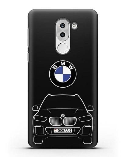 Чехол BMW X5 с автомобильным номером силикон черный для Huawei Mate 9 Lite