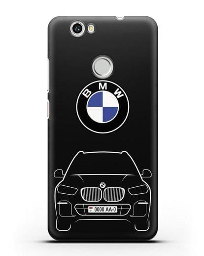 Чехол BMW X5 с автомобильным номером силикон черный для Huawei Nova