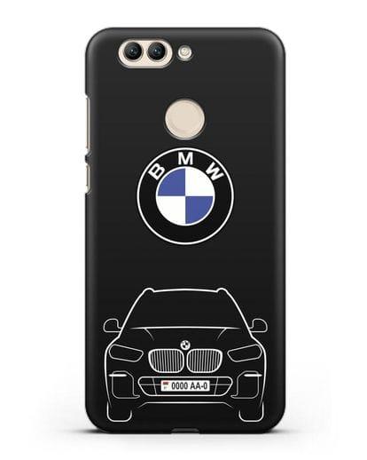 Чехол BMW X5 с автомобильным номером силикон черный для Huawei Nova 2 Plus