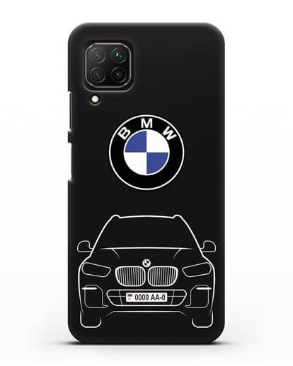 Чехол BMW X5 с автомобильным номером силикон черный для Huawei Nova 7i
