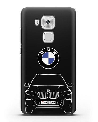 Чехол BMW X5 с автомобильным номером силикон черный для Huawei Nova Plus