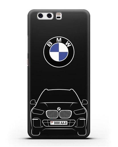 Чехол BMW X5 с автомобильным номером силикон черный для Huawei P10 Plus