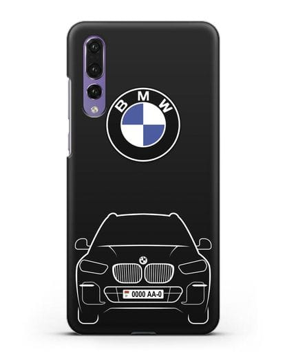 Чехол BMW X5 с автомобильным номером силикон черный для Huawei P20 Pro