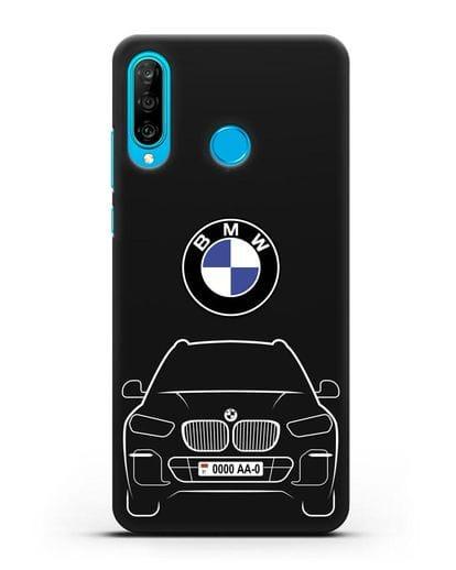 Чехол BMW X5 с автомобильным номером силикон черный для Huawei P30 Lite