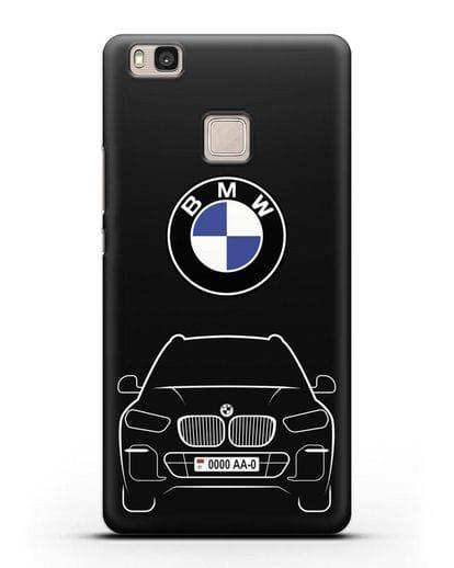 Чехол BMW X5 с автомобильным номером силикон черный для Huawei P9 Lite