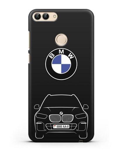 Чехол BMW X5 с автомобильным номером силикон черный для Huawei P Smart