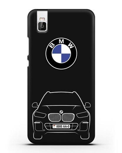 Чехол BMW X5 с автомобильным номером силикон черный для Huawei Shot X