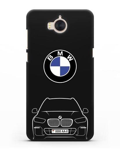 Чехол BMW X5 с автомобильным номером силикон черный для Huawei Y5 2017
