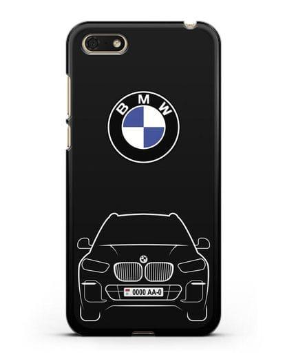 Чехол BMW X5 с автомобильным номером силикон черный для Huawei Y5 Prime 2018