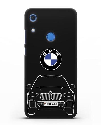 Чехол BMW X5 с автомобильным номером силикон черный для Huawei Y6s