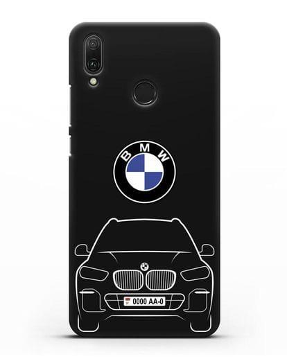 Чехол BMW X5 с автомобильным номером силикон черный для Huawei Y9 2019
