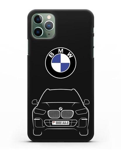 Чехол BMW X5 с автомобильным номером силикон черный для iPhone 11 Pro