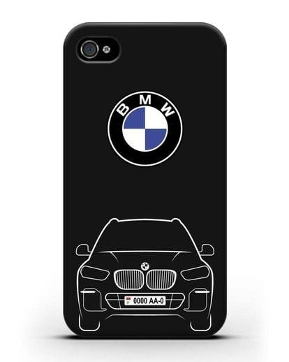 Чехол BMW X5 с автомобильным номером силикон черный для iPhone 4/4s