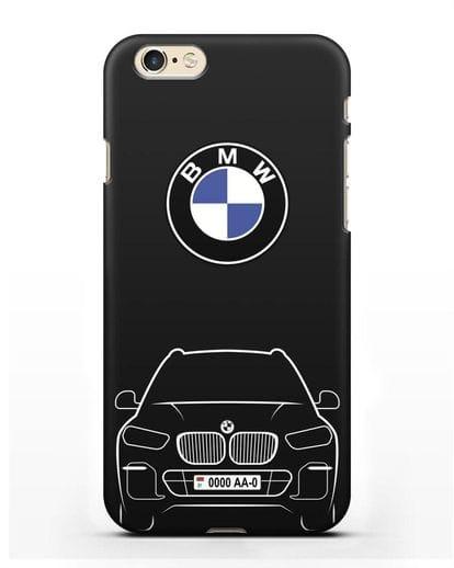 Чехол BMW X5 с автомобильным номером силикон черный для iPhone 6s