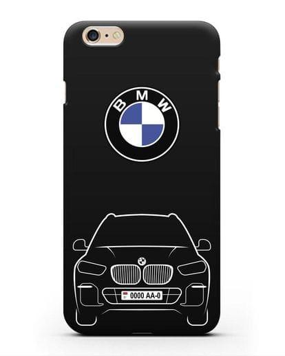 Чехол BMW X5 с автомобильным номером силикон черный для iPhone 6s Plus