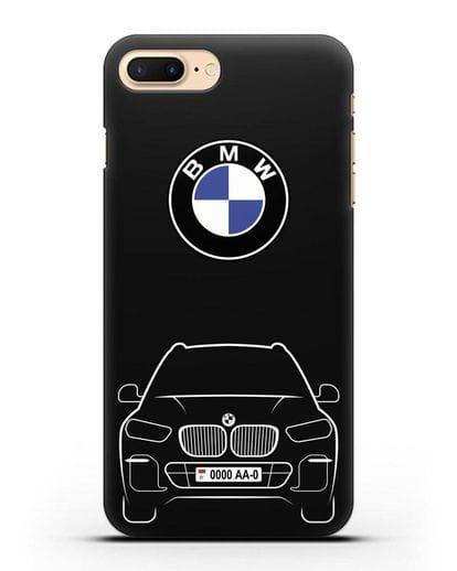Чехол BMW X5 с автомобильным номером силикон черный для iPhone 8 Plus