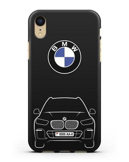 Чехол BMW X5 с автомобильным номером силикон черный для iPhone XR