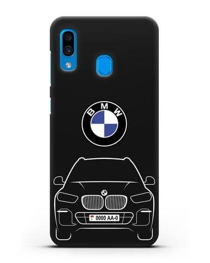 Чехол BMW X5 с автомобильным номером силикон черный для Samsung Galaxy A30 [SM-A305FN]