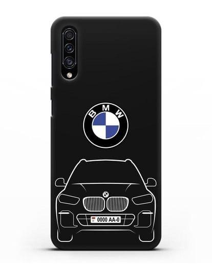 Чехол BMW X5 с автомобильным номером силикон черный для Samsung Galaxy A30s [SM-A307FN]