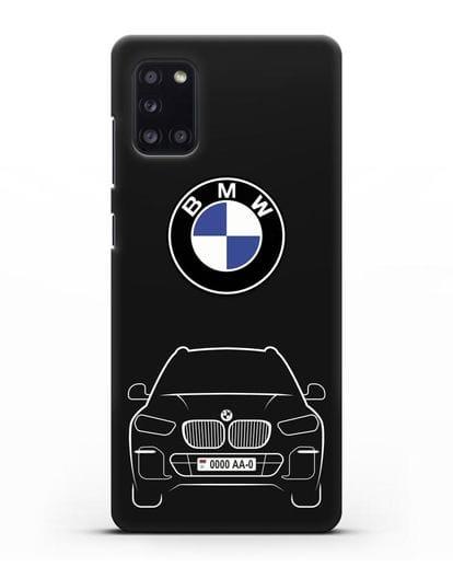Чехол BMW X5 с автомобильным номером силикон черный для Samsung Galaxy A31 [SM-A315F]