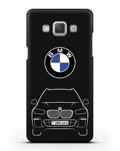 Чехол BMW X5 с автомобильным номером силикон черный для Samsung Galaxy A7 2015 [SM-A700F]