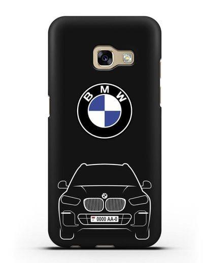 Чехол BMW X5 с автомобильным номером силикон черный для Samsung Galaxy A7 2017 [SM-A720F]