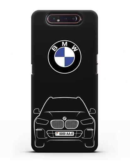Чехол BMW X5 с автомобильным номером силикон черный для Samsung Galaxy A80 [SM-A805F]