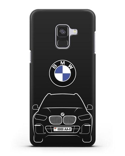 Чехол BMW X5 с автомобильным номером силикон черный для Samsung Galaxy A8 Plus [SM-A730F]