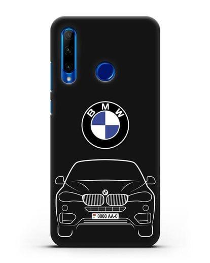 Чехол BMW X6 с автомобильным номером силикон черный для Honor 10i