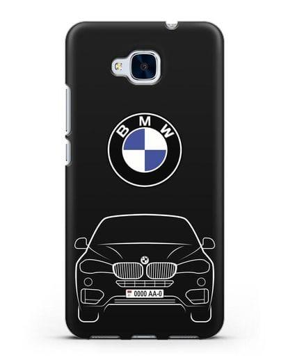 Чехол BMW X6 с автомобильным номером силикон черный для Honor 5C