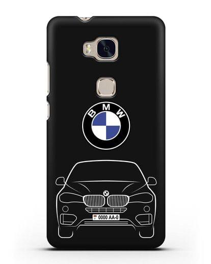 Чехол BMW X6 с автомобильным номером силикон черный для Honor 5X