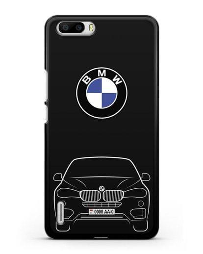 Чехол BMW X6 с автомобильным номером силикон черный для Honor 6 Plus