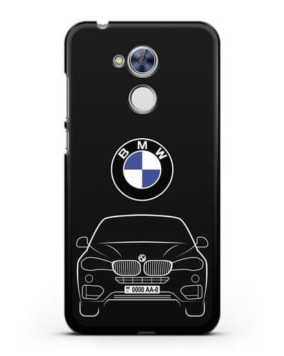 Чехол BMW X6 с автомобильным номером силикон черный для Honor 6A