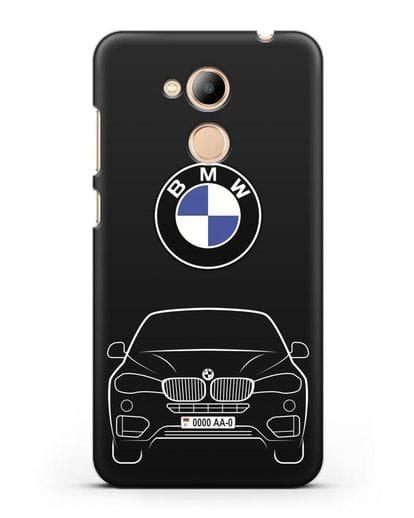 Чехол BMW X6 с автомобильным номером силикон черный для Honor 6C Pro