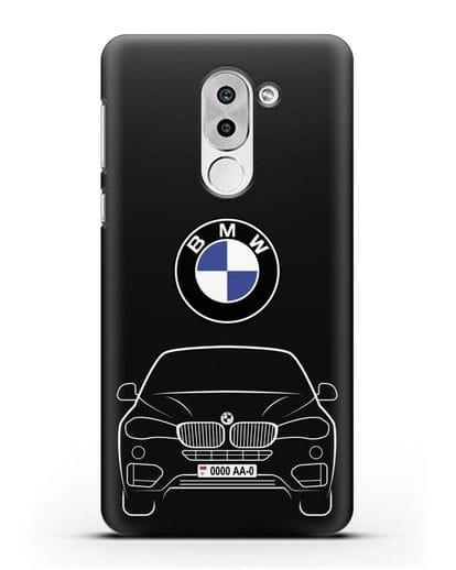 Чехол BMW X6 с автомобильным номером силикон черный для Honor 6X