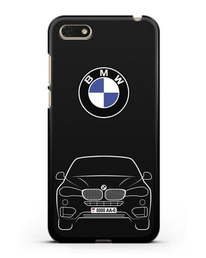 Чехол BMW X6 с автомобильным номером силикон черный для Honor 7А